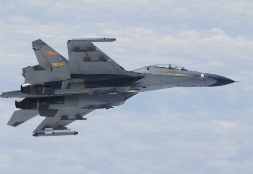 In this undated photo released by Japan Ministry of Defense, Chinese SU-27 fighter plane is shown. China and Japan are blaming each other for a close encounter between military jets over the East China Sea. (AP Photo/Japan Ministry of Defense)