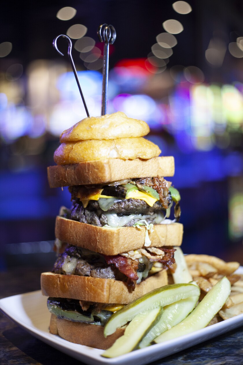 The massive Hall of Fame Burger at Jamul Casino's Tony Gwynn's Sports Pub costs $29.95 and comes with a big league challenge.