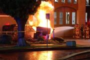 Teen in police chase crashes SUV, gas fire erupts at fire station