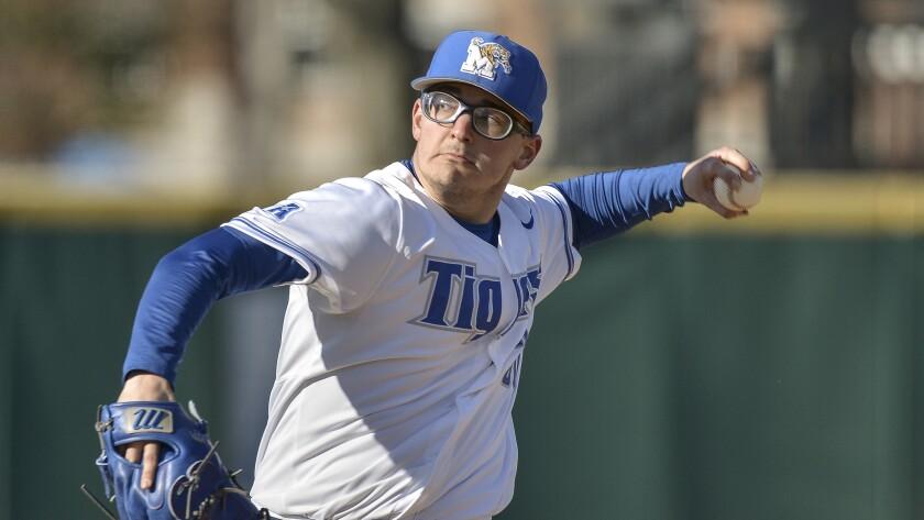Memphis pitcher Danny Denz plays in an NCAA baseball game against Xavier Friday, Feb. 15, 2020, in Memphis, Tenn.