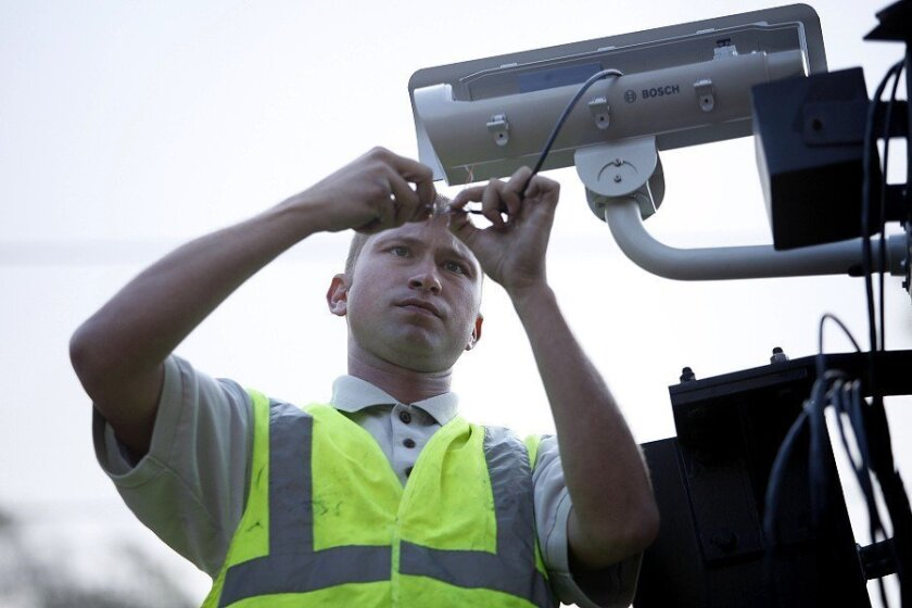 Skip Sumbera of Redrock Security and Cabling installed a security camera at the Grossmont Transit Center in La Mesa.