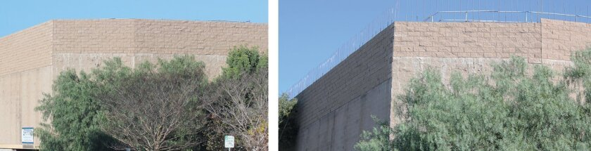 Residents reported the cinema under construction at 7611 Fay Ave. appeared to be exceeding La Jolla's 30-foot height limit (as seen at left); following confirmation by the city last week, the theater developer began reducing the project's height (right).