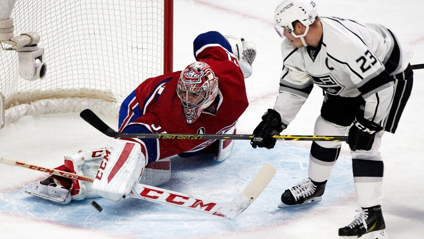 Dustin Brown (23) and the Kings will not have to face goaltender Carey Price when they play the Canadiens on Thursday night in Montreal.