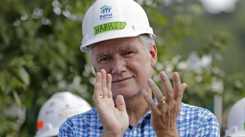 Republican congressional candidate Mark Harris at a Habitat For Humanity building event in Charlotte, N.C., in September.