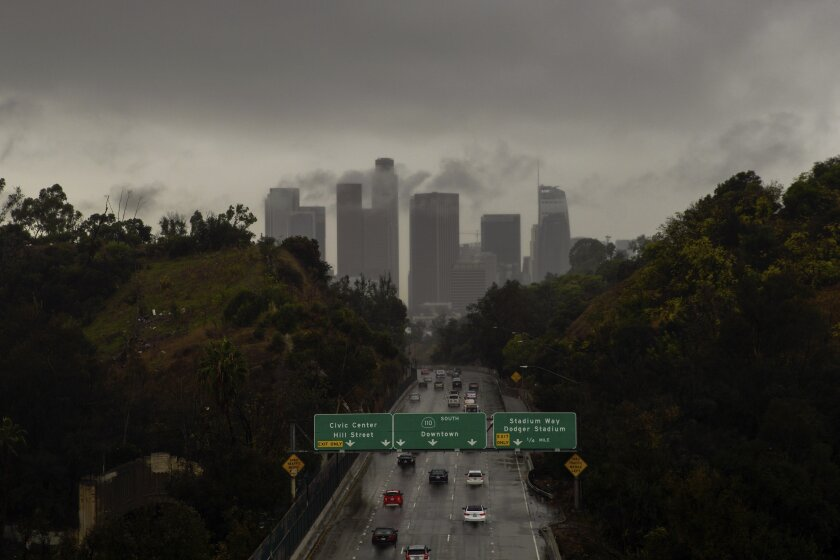 Storm over downtown Los Angeles in December