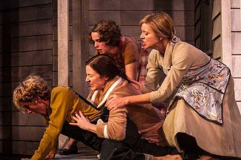 """Amanda Morrow, Jo Anne Glover, Erin Petersen and Lisel Gorell-Getz play sisters in a scene from Moxie Theatre's """"Skinless."""""""