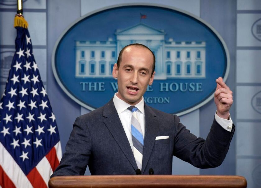 White House senior policy adviser Stephen Miller speaks during a briefing at the White House in Washington on Aug. 2, 2017. A California teacher has been placed on paid leave after recounting how Miller ate glue as a third-grader.