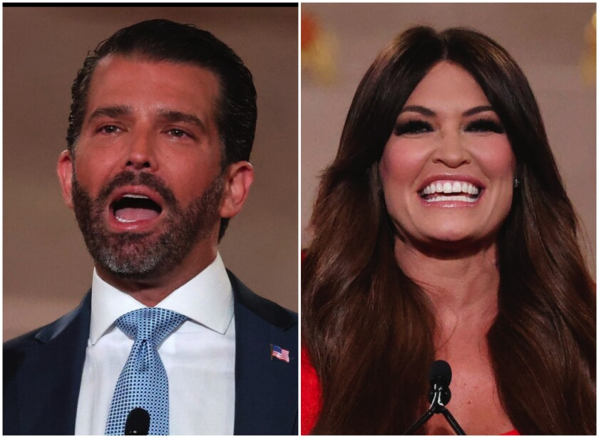 Donald Trump Jr. and Kimberly Guilfoyle speak during the first night of the Republican National Convention.