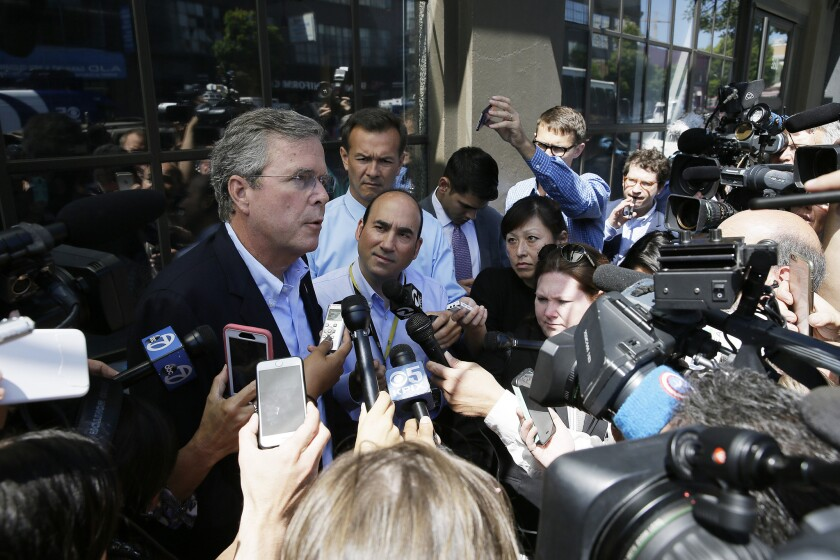 Republican presidential candidate Jeb Bush speaks to reporters in San Francisco in July. A number of GOP candidates have vowed to rescind the agreement with Iran, some on their first day in office.
