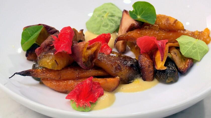 Carrots, chanterelles, peaches and vadouvan