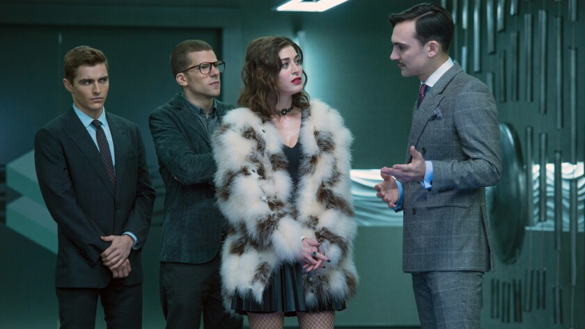 """Dave Franco, left, Jesse Eisenberg, Lizzy Caplan and Henry Lloyd-Hughes in """"Now You See Me 2."""""""
