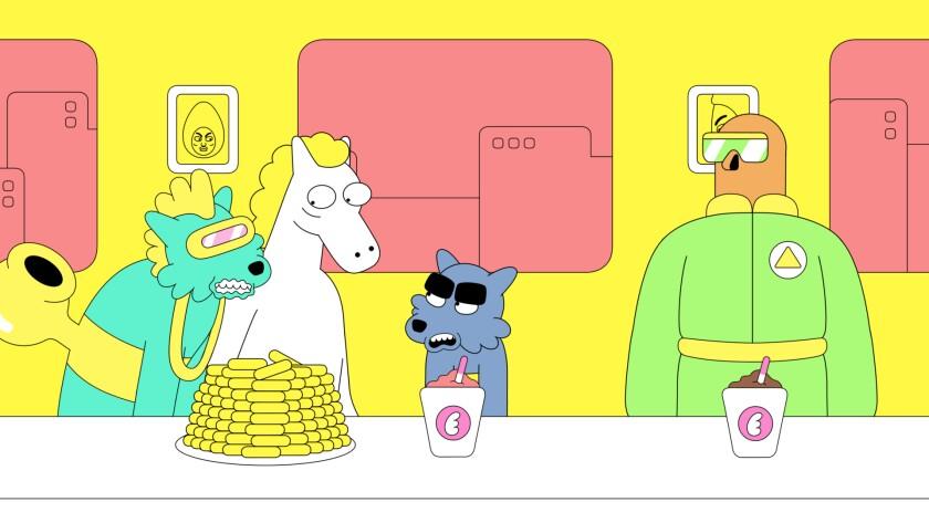 Cartoon characters Canon Wulf, Stupid Horse, the titular Lazor Wulf and King Yeti.