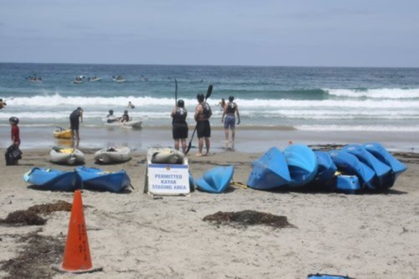 How a kayak company operates, including equipment staging and storage in La Jolla Shores, is determined by an evolving Request for Proposal. Ashley Mackin
