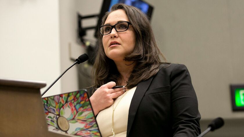 Lobbyist Pamela Lopez, tells members of an Assembly committee tasked with revising the California As