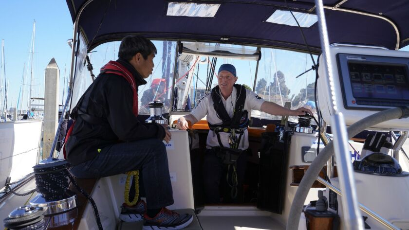 "On board the Dream Weaver, blind sailor Mitsuhiro ""Hiro"" Iwamoto of San Diego, left, and Doug Smith are planning a two-month nonstop voyage to Japan."