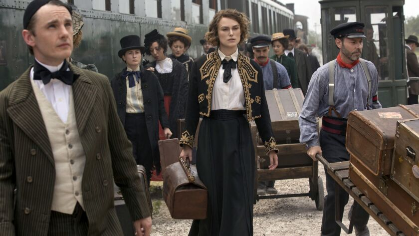 (left) Dickie Beau stars as Wague and (ctr) Keira Knightley as Colette in COLETTE, a Bleecker Street