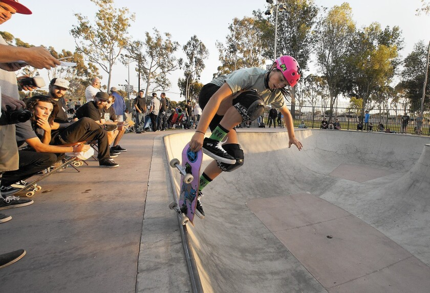 Costa Mesa resident Paige LaBare at the Volcom Skate Park of Costa Mesa.
