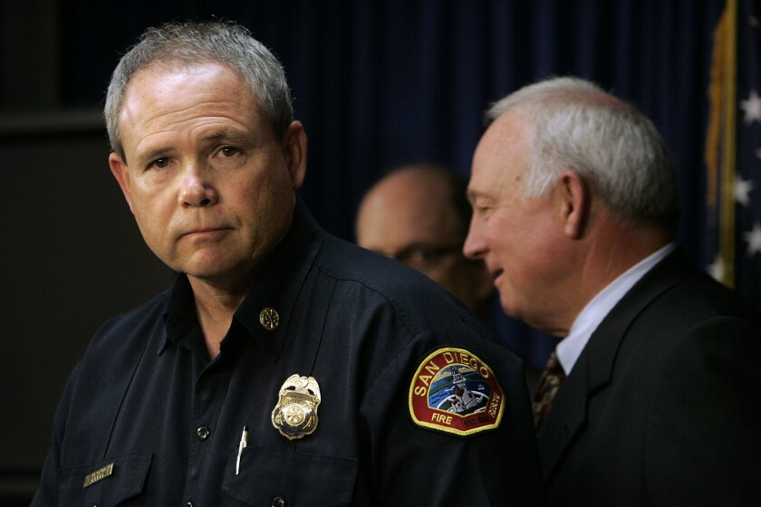 """""""Quite simply, I can't imagine a better person taking charge at this critical moment,"""" said Mayor Jerry Sanders (right) about Javier Mainar (left), his pick for San Diego's 16th fire chief. If confirmed by the council, Mainar will replace retiring Chief Tracy Jarman."""