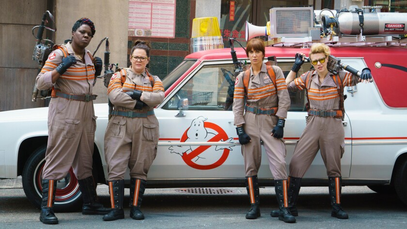 "The new ""Ghostbusters"" is led by, from left, Leslie Jones, Melissa McCarthy, Kristen Wiig and Kate McKinnon."