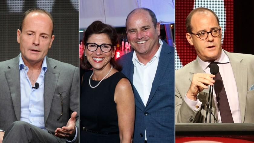 FX Networks Chief Executive John Landgraf, left, CBS entertainment chief Nina Tassler, CBS Television Studios President David Staph and President of Showtime Networks David Nevins.