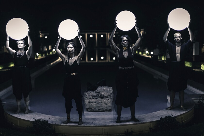 """Four Larks stages the all-new immersive performance piece """"katabasis"""" at the Getty Villa."""