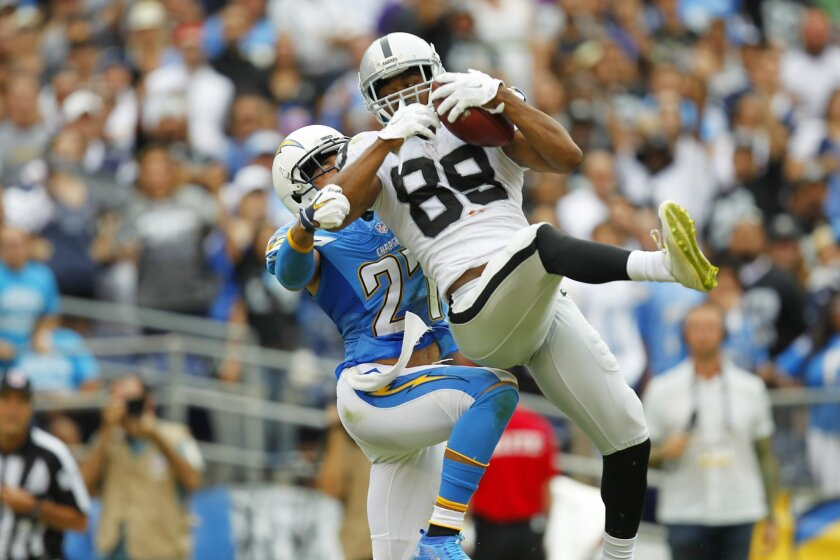 Raiders receiver Amari Cooper, the rookie sensation who vexed the Chargers on Sunday, makes a catch over defensive back Jimmy Wilson.