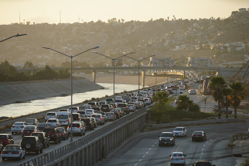 Traffic into San Ysidro from Tijuana backs up five miles from the border.