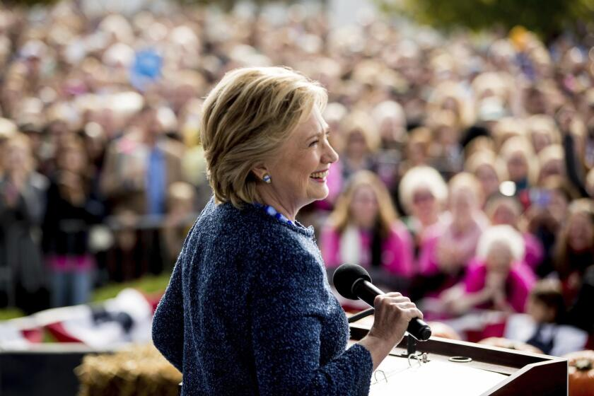 Democratic presidential candidate Hillary Clinton speaks at a campaign rally in Cedar Rapids, Iowa, on Oct. 28.