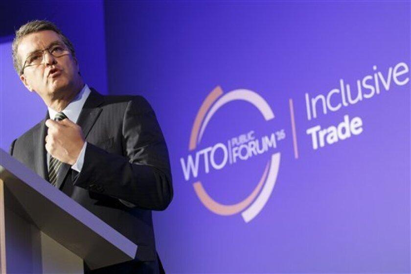 El brasileño Roberto Azevedo, director general de la OMC, pronuncia un discurso durante un foro en las oficinas generales de la organización en Ginebra, Suiza, el martes 27 de septiembre de 2016.