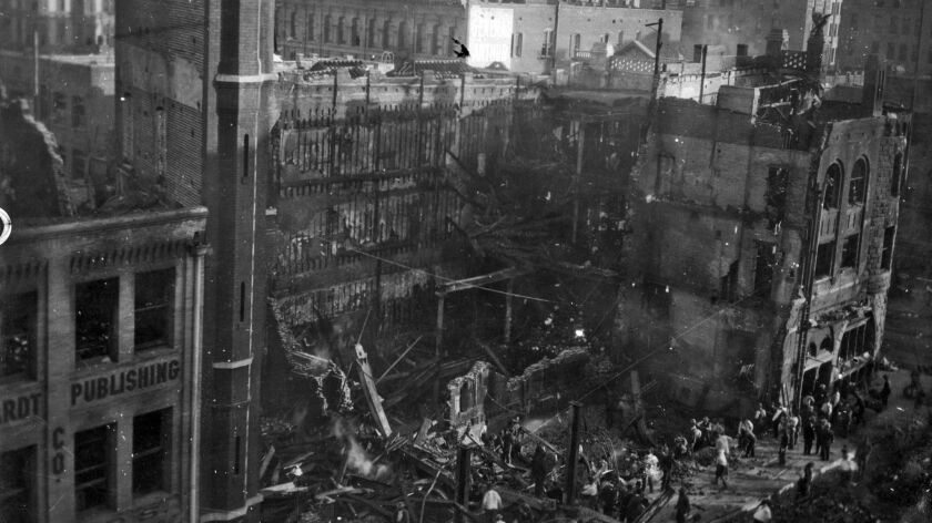 A view of the Broadway side of the Times building on Oct. 3, 1910, two days after the building was b
