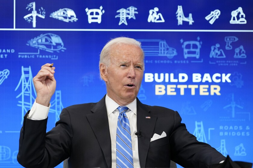 President Joe Biden speaks during a virtual meeting from the South Court Auditorium at the White House complex in Washington, Wednesday, Aug. 11, 2021, to discuss the importance of the bipartisan Infrastructure Investment and Jobs Act. (AP Photo/Susan Walsh)