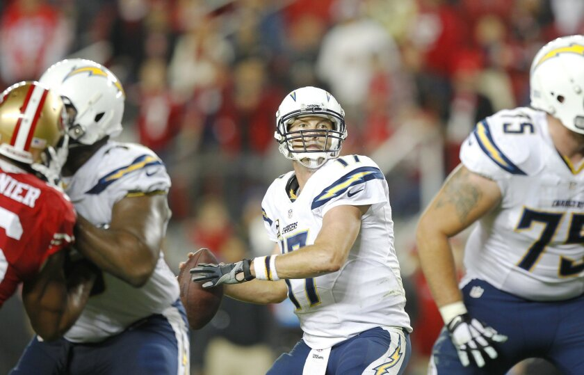 San Diego Chargers quarterback Philip Rivers passes against the San Francisco 49ers.