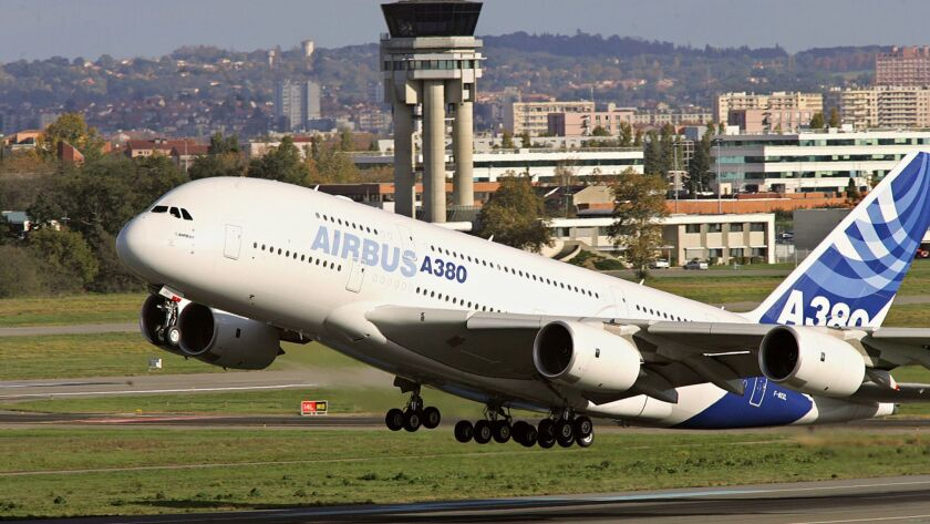 An Airbus A380 takes off from the Toulouse-Blagnac airport.