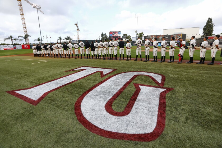 SDSU lines up for the national anthem before first pitch against UNLV.