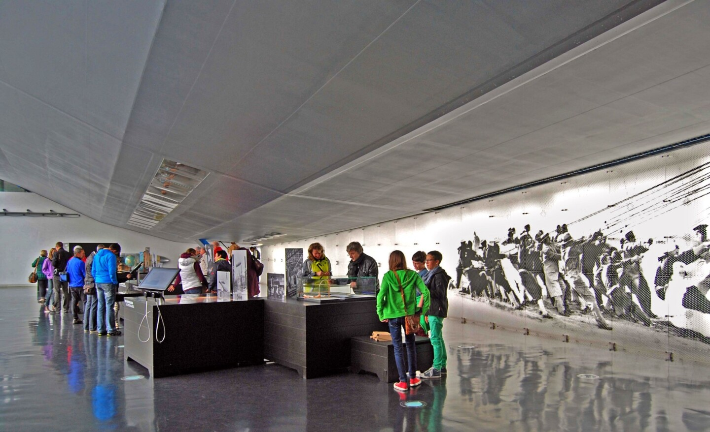 The Zeppelin Museum features a full-size replica of the Hindenburg's starboard section looming over visitors and other exhibits.