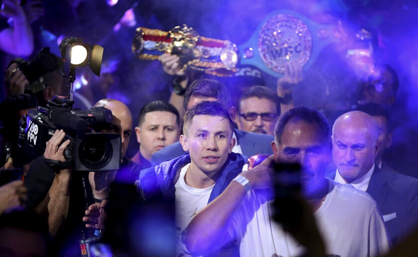Gennady Golovkin enters T-Mobile Arena for a middleweight title boxing match against Canelo Alvarez, Saturday, Sept. 15, 2018, in Las Vegas.