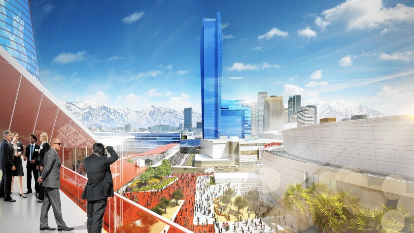 The City View Ballroom Terrace, seen in a rendering, would look out at Los Angeles. But would this vision for the convention center engage with the city?