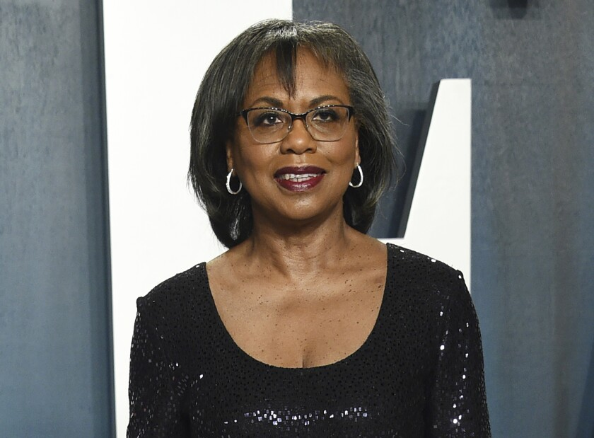 FILE - Anita Hill arrives at the Vanity Fair Oscar Party in Beverly Hills, Calif. on Feb. 9, 2020. Three years into the #MeToo movement, a major Hollywood survey led by Anita Hill has found little faith in the ranks of the entertainment industry that sexual harassers will be held to account. The survey by the Hollywood Commission, chaired by Hill, found that 65 percent of nearly 10,000 respondents did not believe a powerful person would be held accountable for harassing someone with less power. (Photo by Evan Agostini/Invision/AP, File)