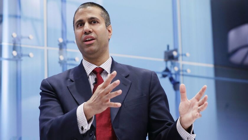 Federal Communication Commission Chairman Ajit Pai speaks at the American Enterprise Institute in Washington, D.C., on May 5.