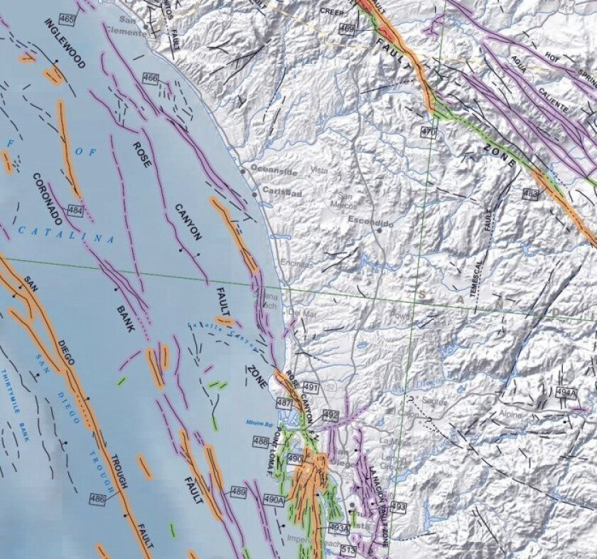 New quake fault map issued for San go area - The San ... on california geology map, california agriculture map, northern california map, california magma map, california volcano map, california regions, california faultlines map printable, california tectonic map, california love map, california seismic zone 4, california state map pdf, california bedrock map, california geothermal gradient map, california landslide map, california earthquake map, california mineral resources map, california disaster map, naws china lake base map, california aquatic supply, california crack map,