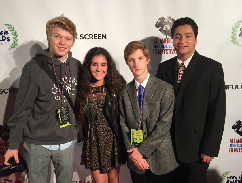 Canyon Crest Academy Envision Cinema Conservatory students TJ Gascho, Julia Eliju, Chris Razniak and Thomas Wade. Courtesy photo