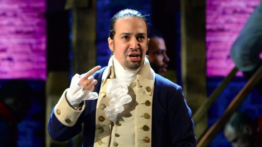 """Lin-Manuel Miranda of """"Hamilton"""" performs at the 70th Tony Awards. The telecast delivered its highest rating in 15 years."""