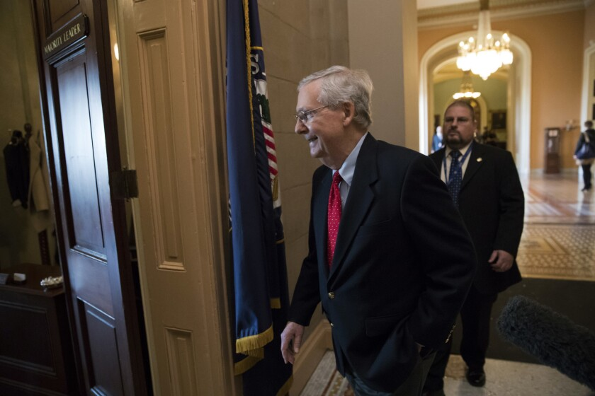 Senate Majority Leader Mitch McConnell (R-Ky.) on Capitol Hill.