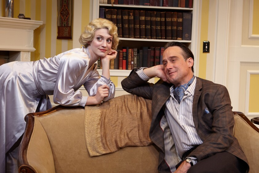 """J. Todd Adams, right, with Teagan Rose in North Coast Repertory Theatre's 2018 production of """"Blithe Spirit."""""""