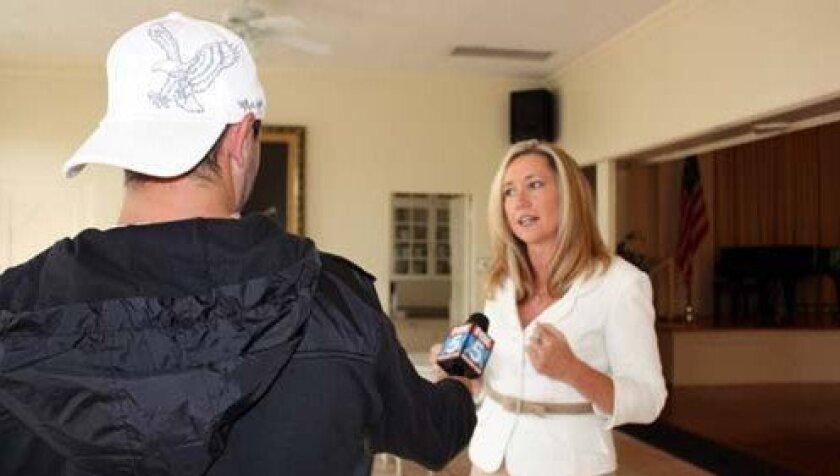 Rosemary Murrieta talks to a Fox5 reporter following Wednesday's LJVMA meeting. Photo: Kathy Day