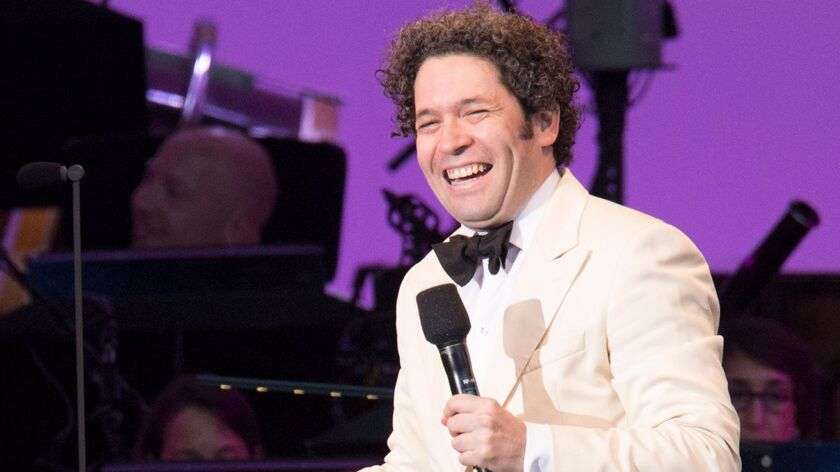 "Gustavo Dudamel sings ""Broadway Baby"" while conducting the Los Angeles Philharmonic in the premiere of the symphonic version of ""Sondheim by Sondheim."""