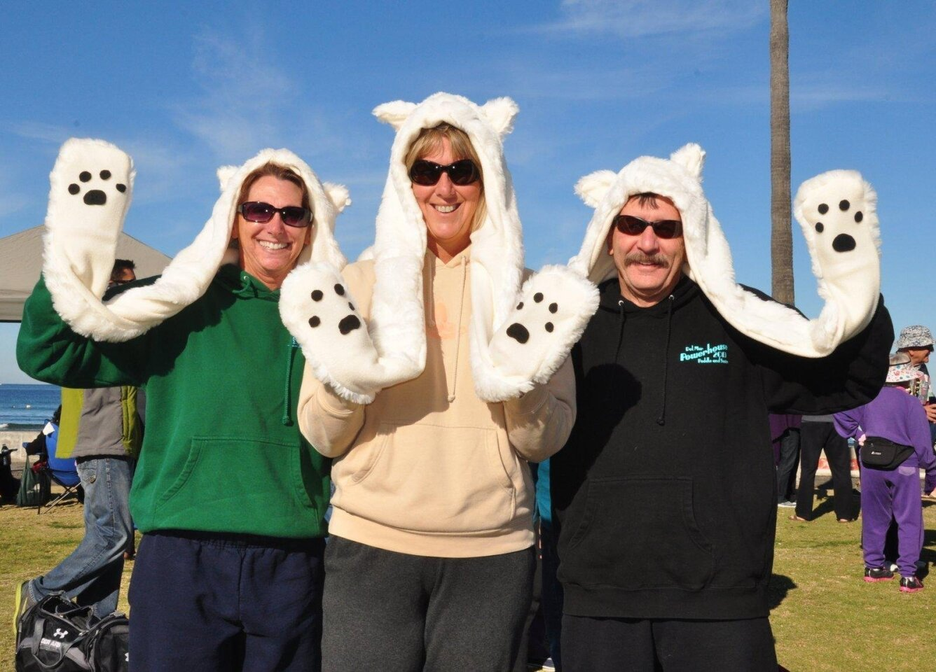 Patty Magaudda, Nancy Nowak and Bob Magaudda. (Polar Bear Plunge at La Jolla Shores Beach, Jan. 1, 2016)