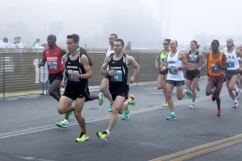 Runners hit the road for the inaugural California 10/20 run last February, which went through Del Mar, Solana Beach and Encinitas. The Encinitas City Council reversed course and approved the run Aug. 20 due to the course being altered.