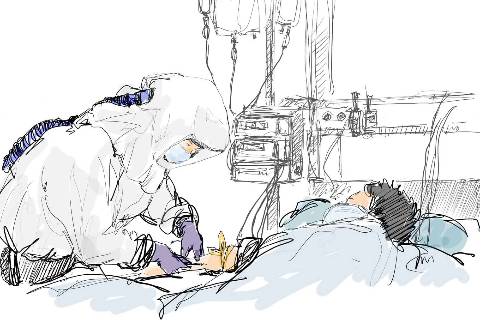 Oh Young-jun cares for critically ill patients infected with the novel coronavirus in a negative-pressure isolation ward.