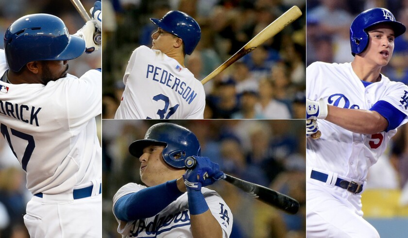 Clockwise from top left: Howie Kendrick, Joc Pederson, Corey Seager and Enrique Hernandez likely will all see time batting at the top of the order for the Dodgers this season.